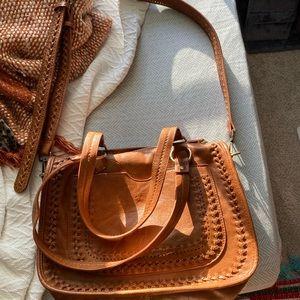 Anthropologie Antik Kraft Brown Leather Purse